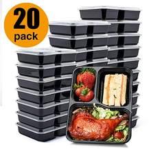 20 recipientes descartáveis da preparação da refeição da caixa de armazenamento do alimento dos pces 3-compartimento caixas de almoço da micro-ondas com utensílios de mesa da tampa