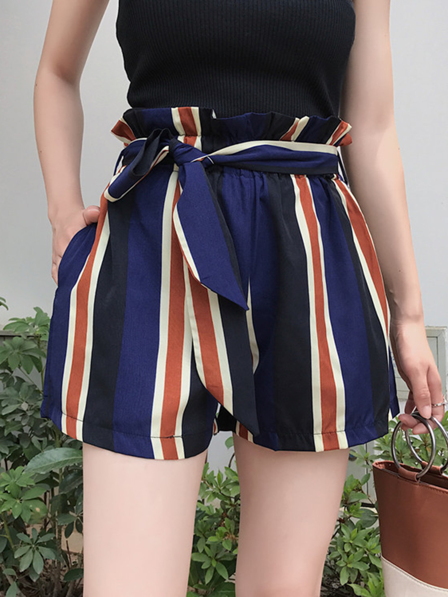 Women Striped Chiffon Wide-leg Pants Fashion Korean Loose High Waist Shorts Casual Pants Lace Up Shorts