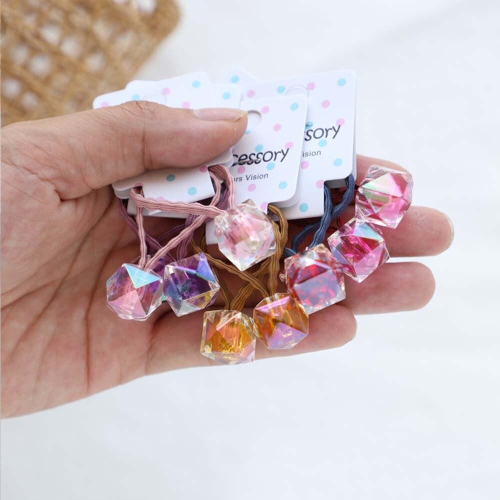 2 Pcs Cute Little Flowers Candy Block Headwear Kids Elastic Hair Bands Girls Children Hair Ropes Hair Ring Hair Accessories