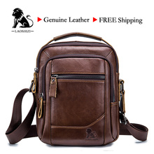 LAOSHIZI Male BAG Genuine Leather Shoulder Bag Fist Layer Cow Leather Casual Business Bag For Male Luxury Brand Bag91314