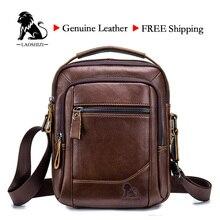 LAOSHIZI homme sac en cuir véritable sac à bandoulière poing couche en cuir de vache sac daffaires décontracté pour homme marque de luxe Bag91314