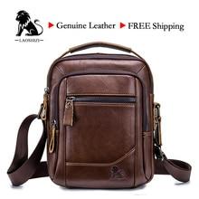 LAOSHIZI الذكور حقيبة جلد طبيعي حقيبة كتف قبضة طبقة جلد البقر حقيبة أعمال عادية للذكور الفاخرة العلامة التجارية Bag91314