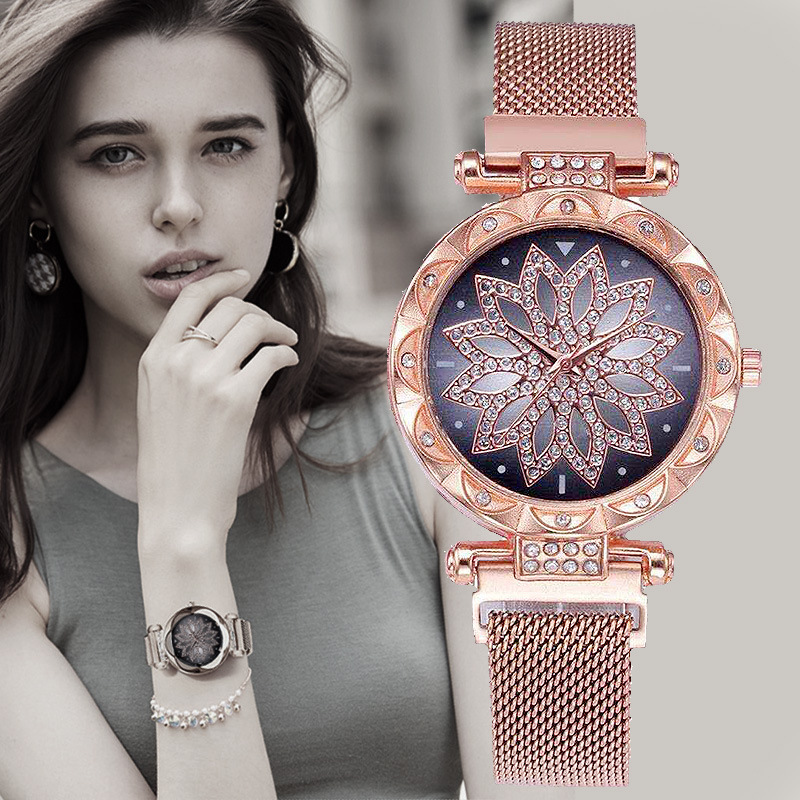 Luxury Ladies Watch Stainless Steel Quartz Wristwatches Wrist Watches For Women Magnetic Starry Sky Diamond Clock Reloj Mujer