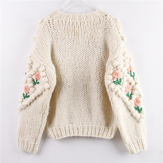 H.SA 2021 New Women Winter Handmade Sweater And Cardigans Floral Embroidery Hollow Out Chic Knit Jacket Pearl Beading Cardigans 2