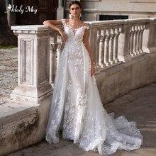 Adoly Mey romántico cuello redondo manga casquillo sirena vestidos de boda 2020 preciosos apliques desmontable tren vestido nupcial de princesa