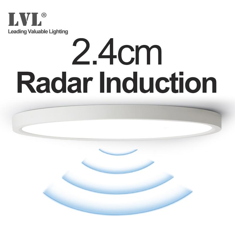 LED Radar Induktion Panel Licht 12W 18W 24W 220Vac Motion Sensor LED-Panel Lampe Für Flure Flur gang Treppen