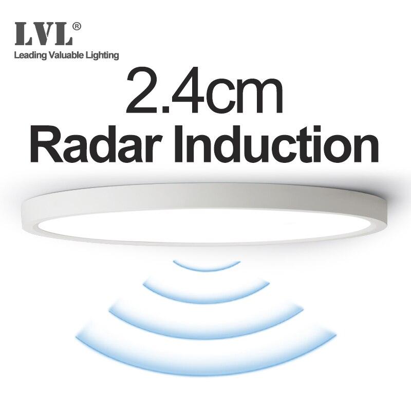 Panel de inducción de Radar LED 12W 18W 24W 220Vac Sensor de movimiento LED lámpara de Panel para pasillos pasillo escaleras de pasillo