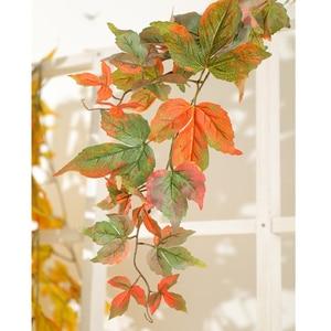 Image 3 - 180cm Künstliche Kunststoff Pflanzen Ivy Maple leaf garland baum Gefälschte Herbst blätter Rattan Hängenden Reben für Hochzeit Hause Wand decor