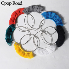 Cpop New Boho Handmade Exaggeration Tassel Earrings for Women Ethnic Big Hoop Fashion Jewelry Hot Sale Accessories Gift
