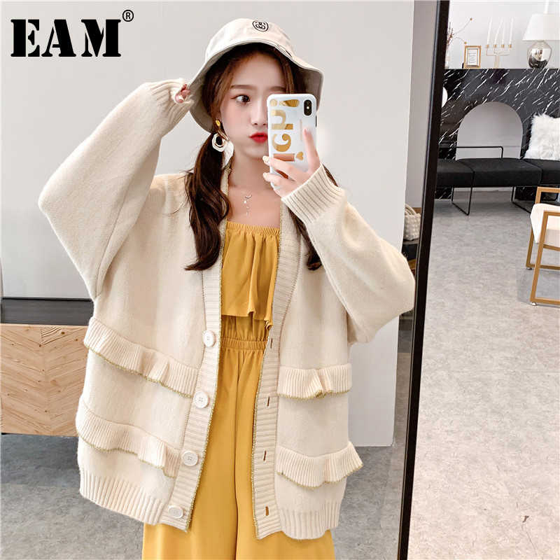 [EAM] botón volantes empalme gran tamaño tejer suéter suelto Fit cuello en V manga larga Mujer nueva moda Otoño Invierno 2019 JZ108