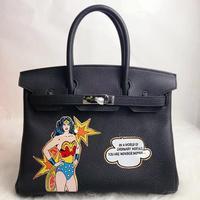 2019 Handpainted Purses Custom Graffiti paintings Wonder Woman platinum bag Real Leather 35CM Gold Hardware