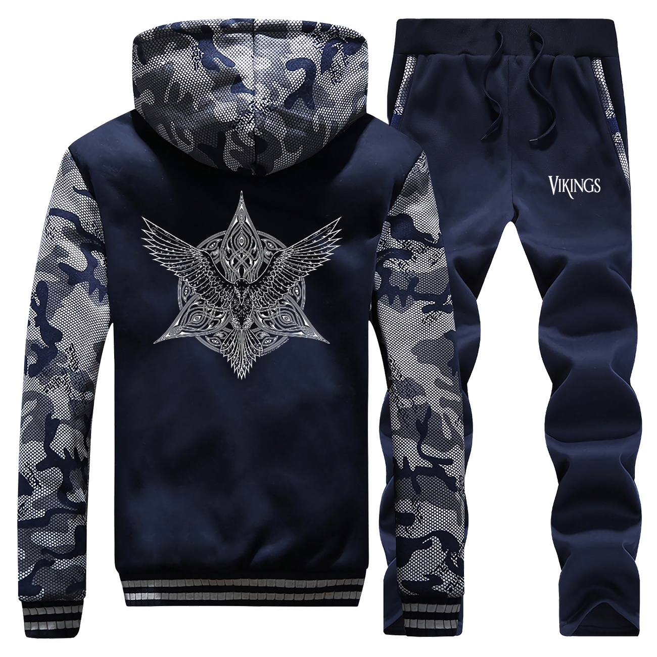 Mens Thick Hoodie+Trousers Viking Legend Winter Brand 2 Piece Sets Camouflage Zipper Jacket Warm Pants Male Sportswear Clothing