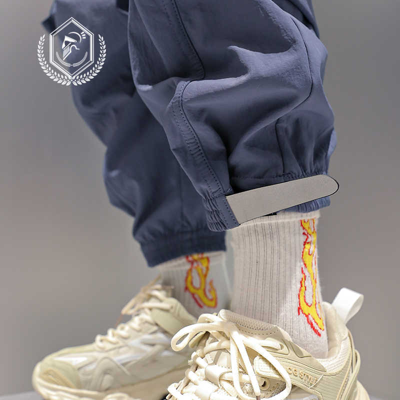 Homem solto safari estilo harem jogger calças moda velo pesos pesados bolsos tornozelo comprimento hip hop calças