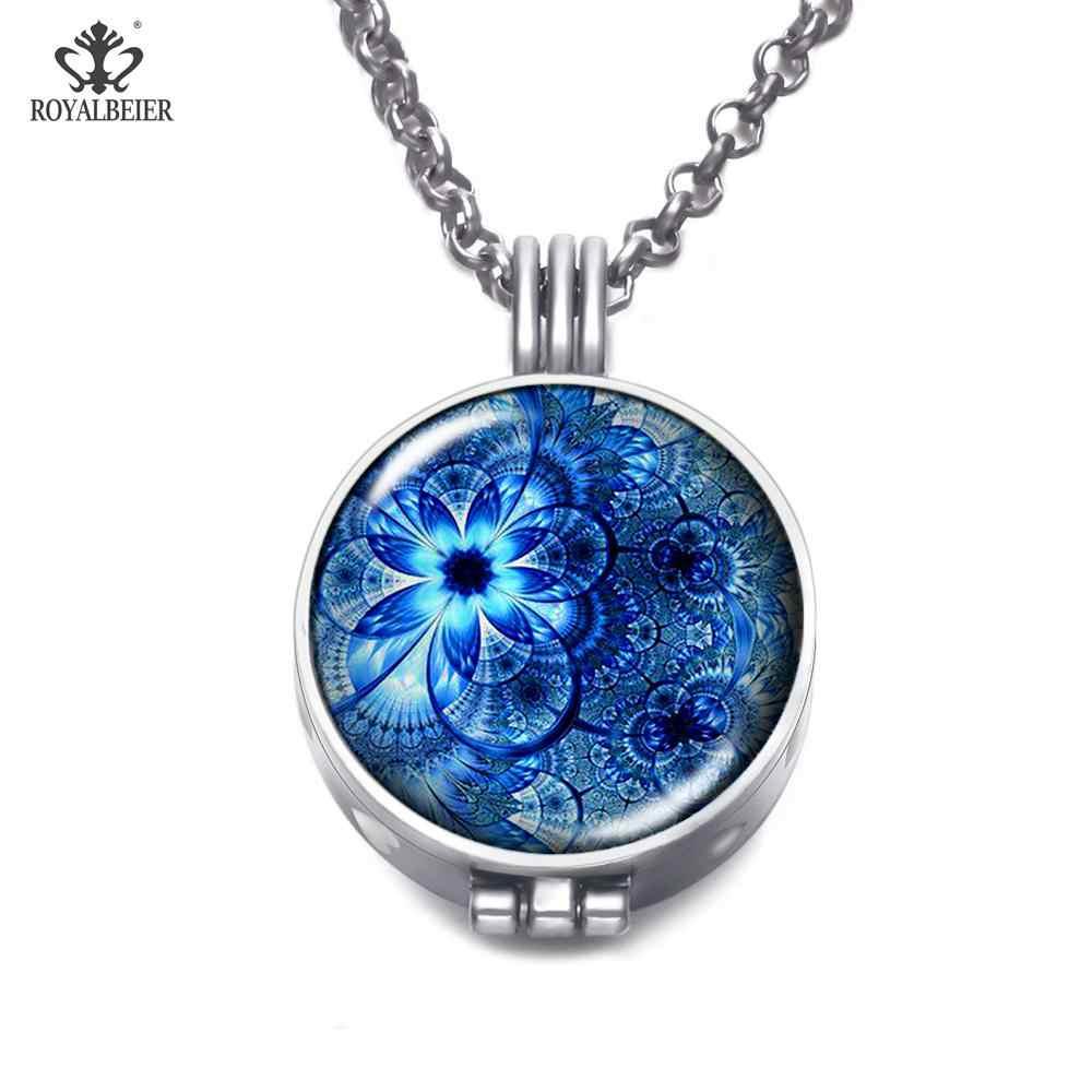 ROYALBEIER Mandala รูปแบบ AROMA locket สร้อยคอสีฟ้าบทคัดย่อ Art น้ำมันหอมระเหยน้ำมัน Diffuser น้ำหอมจี้เครื่องประดับ