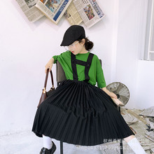2020 spring and summer new girl skirt Japanese black strap pleated skir