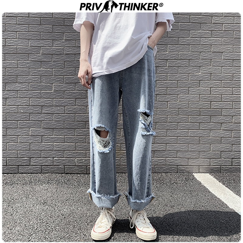 Privathinker Harajuku Ripped Hip Hop Mens Jeans 2020 Summer Straight Jeans Man Casual Fashion Vintage Male Denim Pants Bottoms