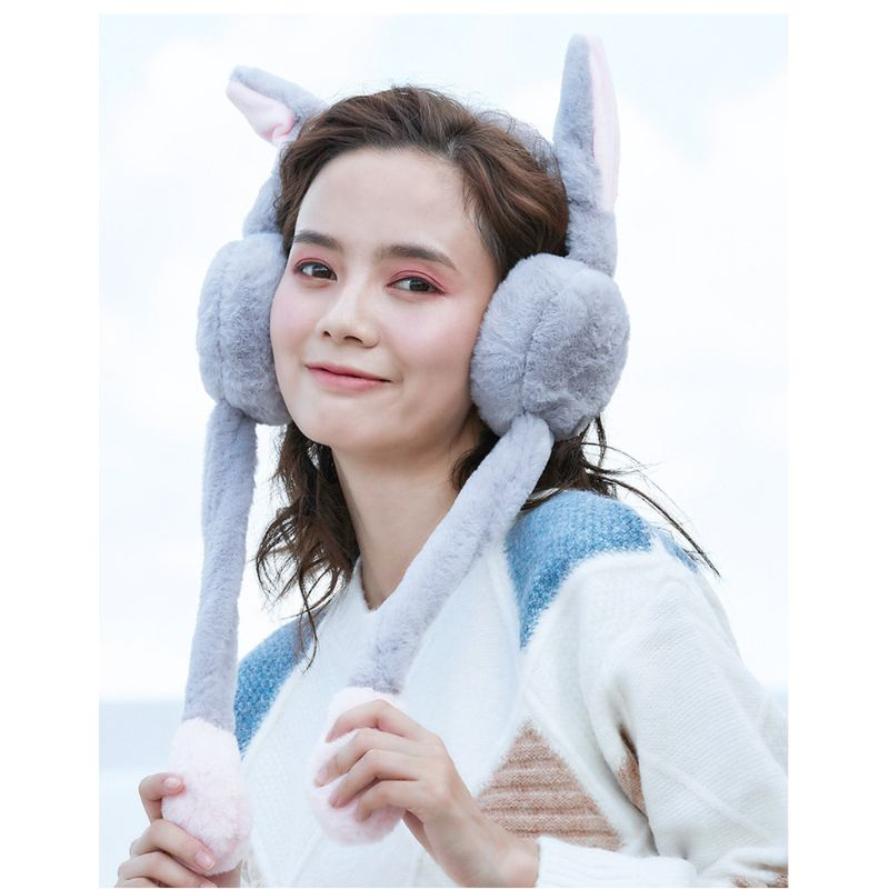 Adult Kids Winter Plush Headband Earmuff With Cute Moving Airbag Bunny Ears Gift