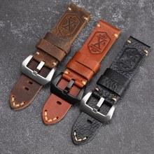 Handmade schädel leder Armband X-MEN Soldat Top Schicht Lederband 20 22 24MM Kompatibel Für PAM111 Weiche Armband