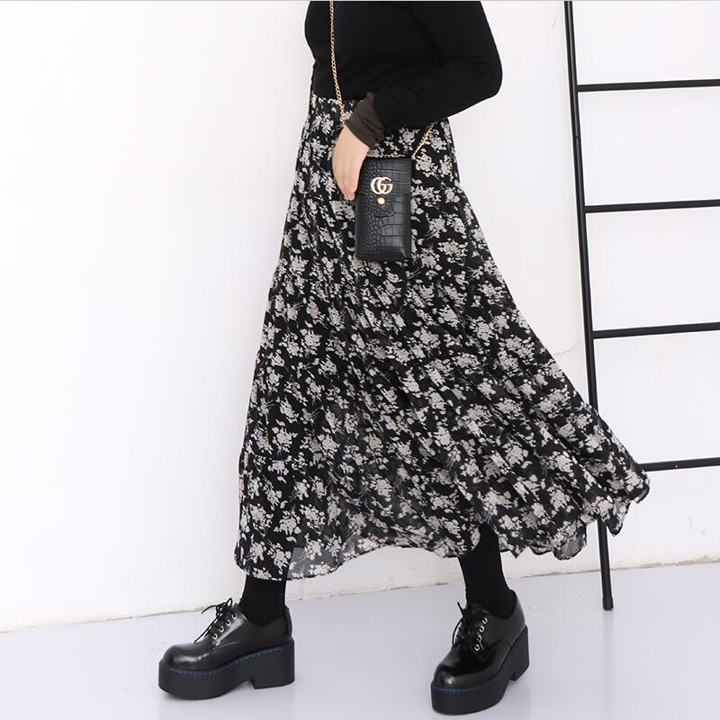 Plus Size 2020 Spring Korean Floral Print Pleated Ruffled Skirt,Bohemia Summer Beach Skirts Vintage Maxi Chiffon Skirts M-7XL