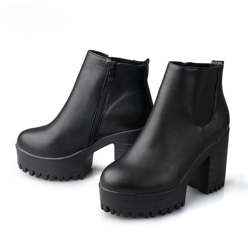 Botas Mujer Fashion Women Boots Square Heel Platforms Zapatos Mujer PU Leather Thigh High Pump Boots Motorcycle Shoes
