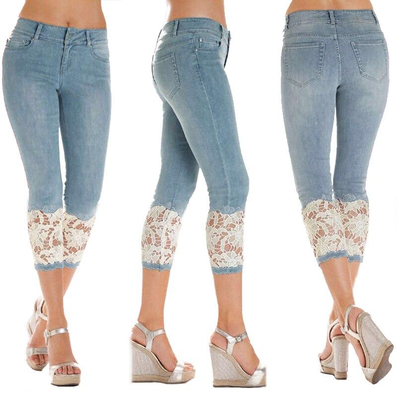 FREE RETURN New Summer Fashion Young Sexy Women Jeans Medium Waist Pants Lace-up Thin Cotton Jeans Capri Pants
