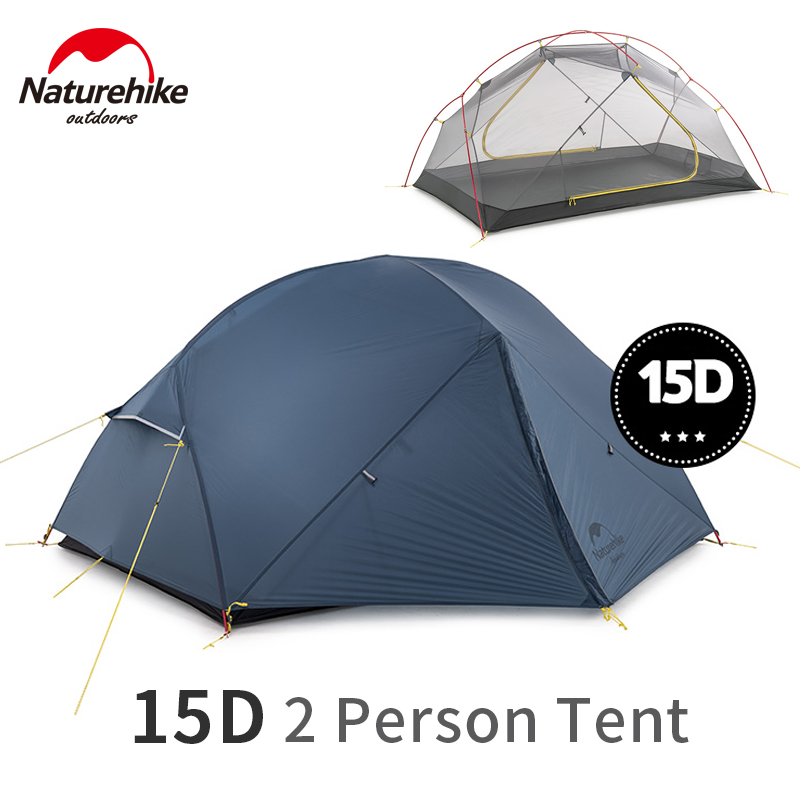 Naturehike Mongar 2-3 Person Camping Tent 15D Nylon Upgrade Double Layer Outdoor Tent Ultralight 1.57kg Waterproof Travel Hiking