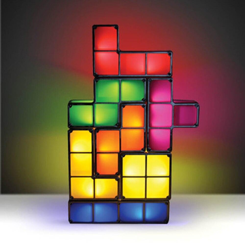Тетрис головоломка светильник Штабелируемый светодиодный настольная лампа застройку блок светодиодные лампы ночной Светильник 3D чехол дл...
