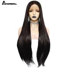 """Anogol 1 # preto longo em linha reta 2 # perucas marrom escuro para mulher resistente ao calor de alta temperatura fibra peruca dianteira do laço sintético 30"""""""