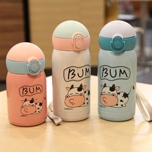 Bpa free 300ml Babys Drink Cups 304 Stainless steel straw Thermos Cup portable Rope Mini Vacuum Flask Cartoon Cow Water Bottle