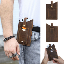 Genuine Leather Belt Clip Holster Case for 6.7 inch Mobile Phone Pack with Dual Card Pocket Waist Bag Cell Phone Accessories
