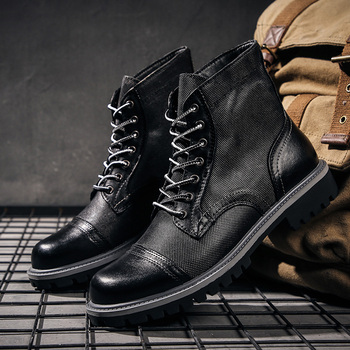 New Big Size 38-47 Men Shoes High Quality Genuine Leather Men Ankle Boots Fashion Winter Men Boots Warm casual Shoes With Fur
