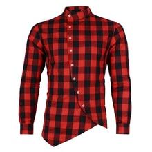 2019 new brand plaid mens check long sleeve shirts hip hop style good quality irregular desgin men