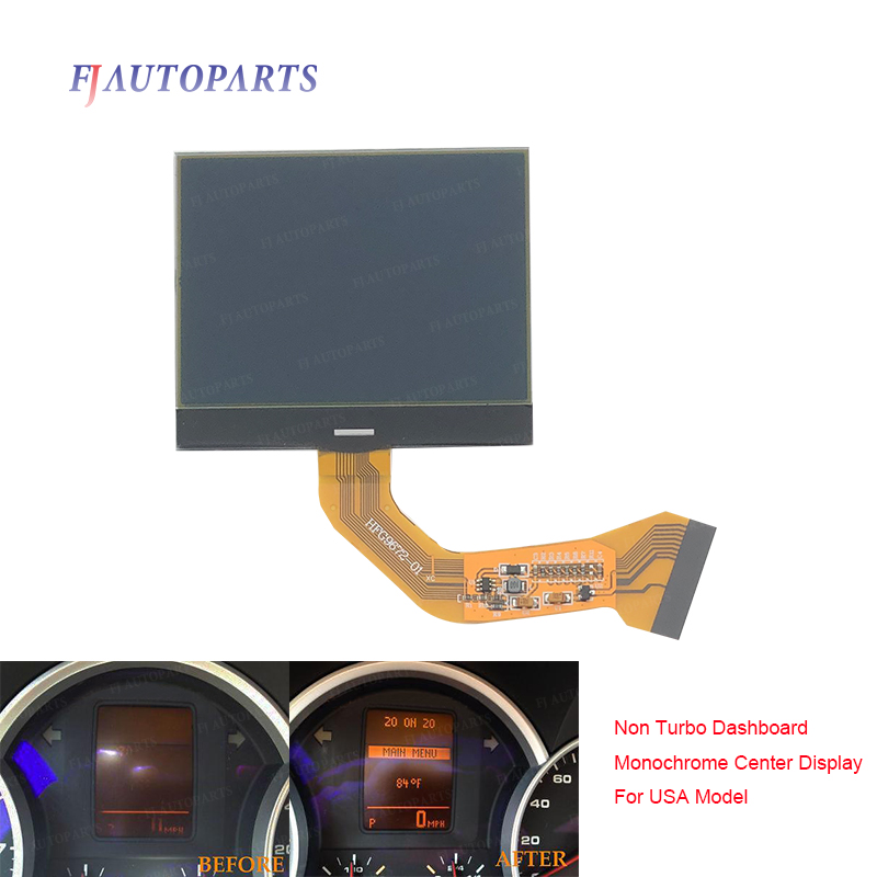 For VW Touareg V6 2004-2007 Porsche Cayenne S 2003-2009 Instrument Cluster Monochrome LCD Display Screen