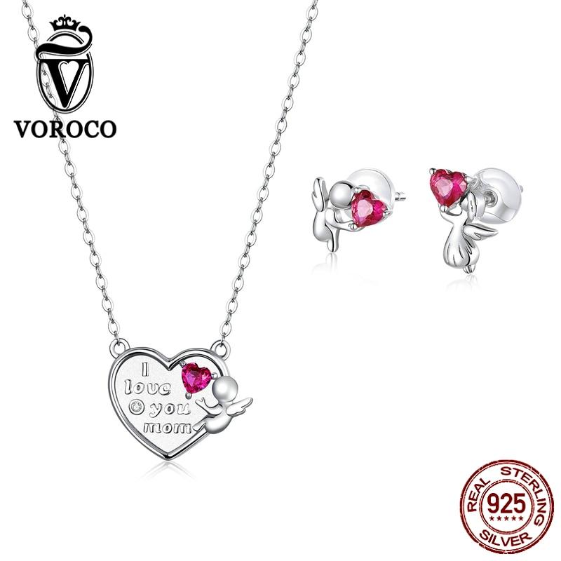Voroco Authentique Argent Sterling 925 Cœur Rose Charm Bead Fit Bracelet Collier