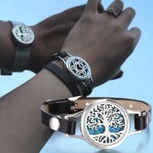 New Tree of Life Aromatherapy Bracelet Essential Oil Diffuser Bracelet Perfume Locket Leather Bracelets for Women Wristbands