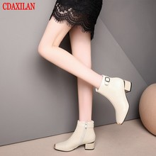 CDAXILAN new to womens ankle boots soft genuine cow leather fabics square toe side-zipper Mid-heels  motorcycle ladies