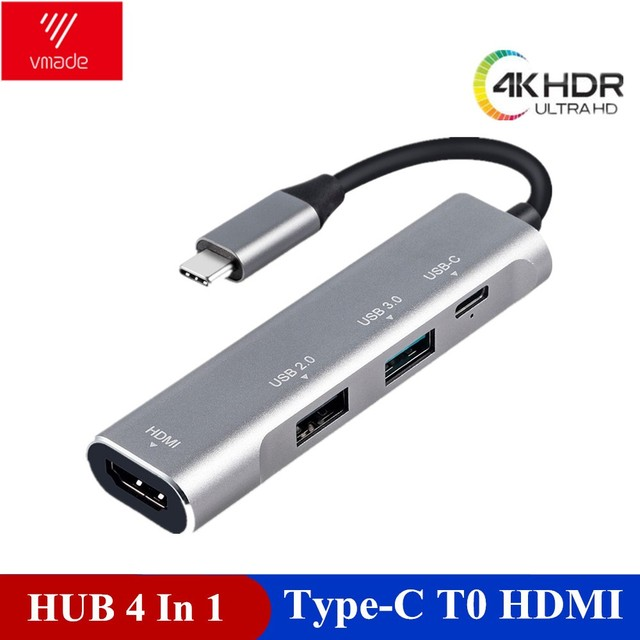 Vmade 4 in 1 USB HUB USB C HUB Adapter to HDMI PD port Converter for MacBook Pro Type C HUB for Huawei P20 Mate 20 Pro 3.1 HUB