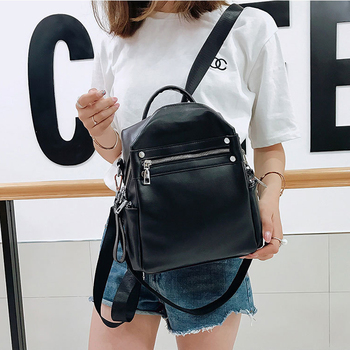 New Women's Backpack PU Leather Shoulder Bag Backpacks For Female Ladies Simple Fashion Desiger 2021 Women Solid Color Mochila 1