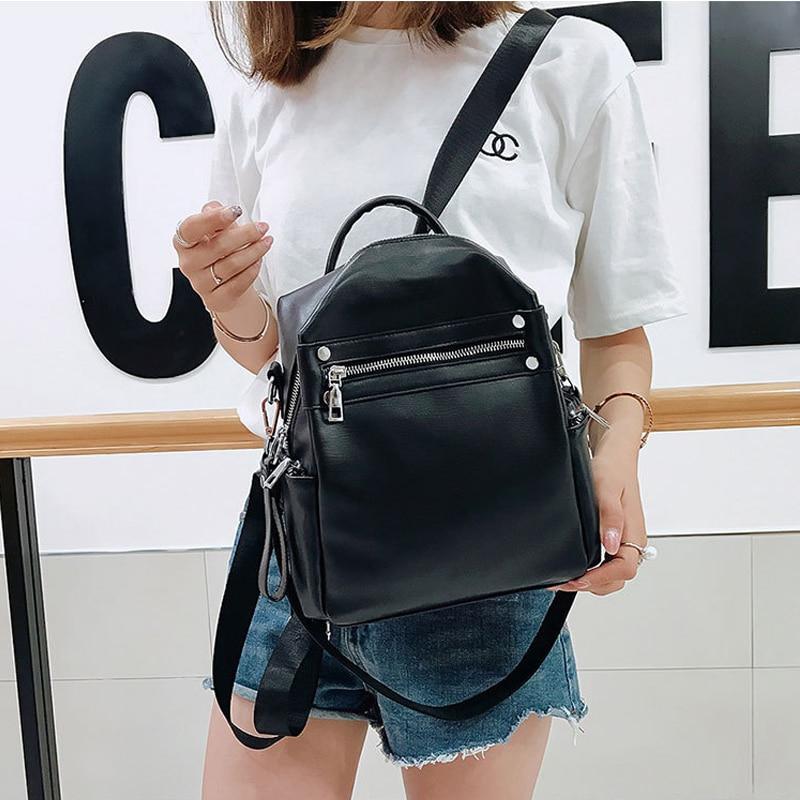 New Women's Backpack PU Leather Shoulder Bag Backpacks For Female Ladies Simple Fashion Desiger 2019 Women Solid Color Mochila