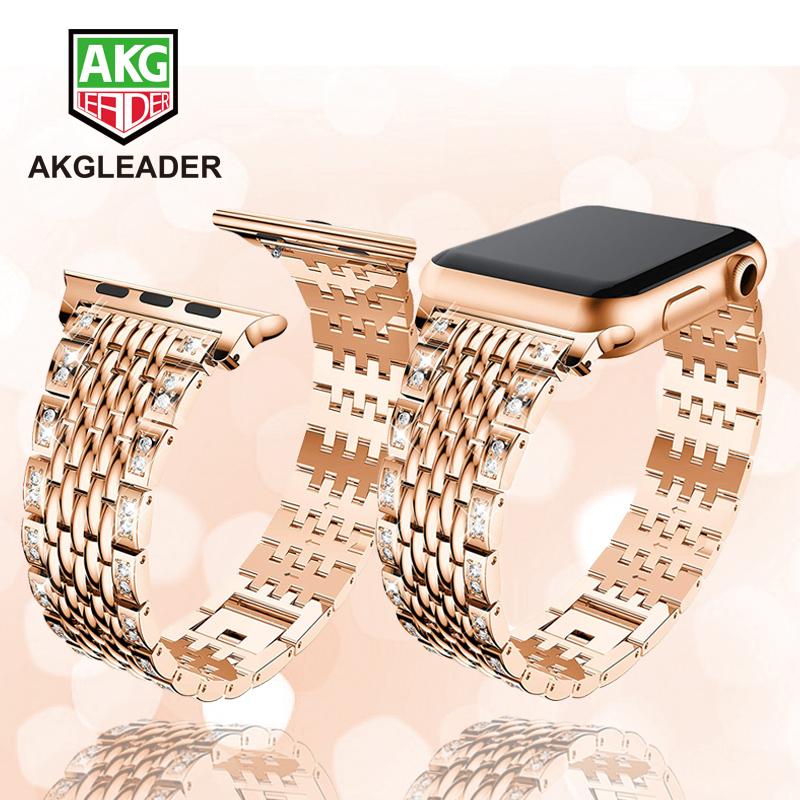 Ladies Wrist Strap For Apple Watch Series 5 4 3 2 1 Women Watch Bracelet Crystal Diamonds Stainless Steel Watch Band 38/40/44mm