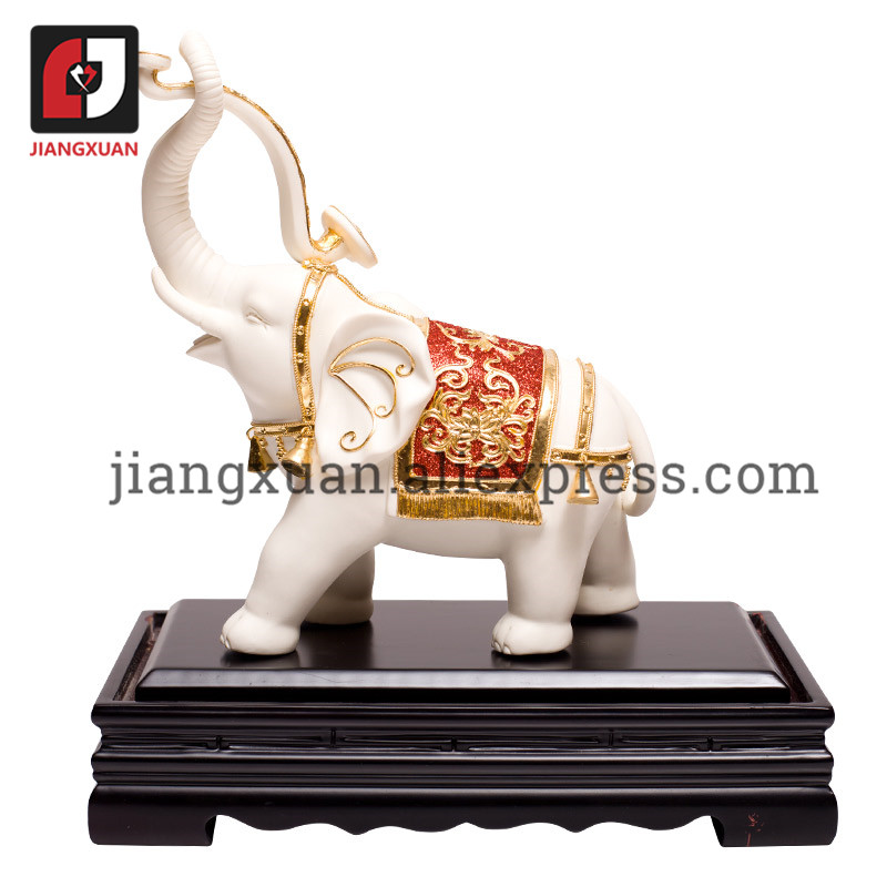 Vintage Chinese 24k Gold Foil White Porcelain Elephant Figurines Ornament