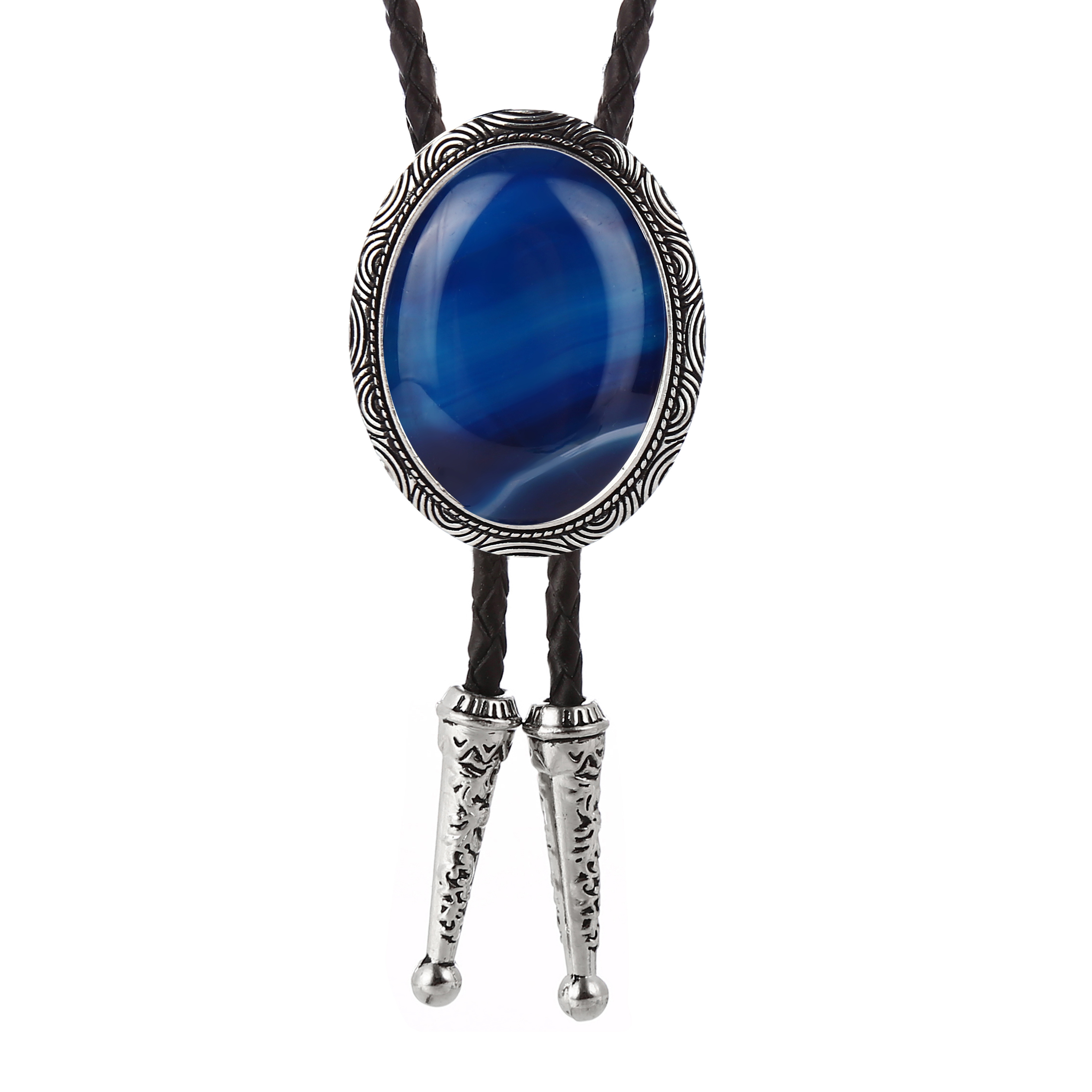 European And American Fashion Natural Agate Bolo Tie Men's Suit Collar Brace Women's Sweater Chain Wedding Gift