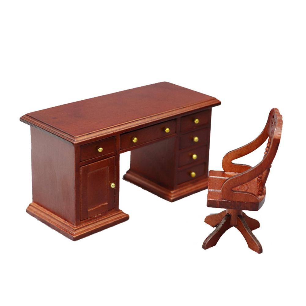2Pcs/Set 1/12 Wooden Desk Computer Chair Furniture Model Toy Dollhouse Decor New