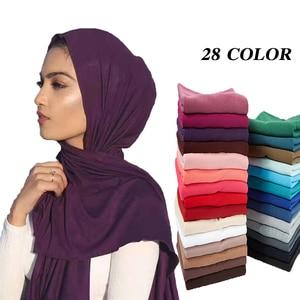 Image 1 - 10 יח\חבילה נשים רזי המוסלמית חיג אב צעיף צעיף Femme גודל בתוספת Hijabs האסלאמי צעיפי Soild מודאלי מטפחת לנשים