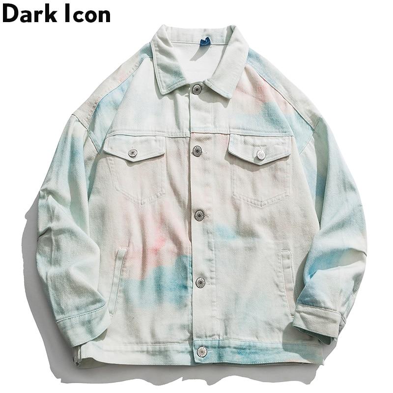 Dark Icon Tie Dyeing Jeans Jacket Men Single Breast Denim Jacket Street Men's Jackets Streetwear Clothing