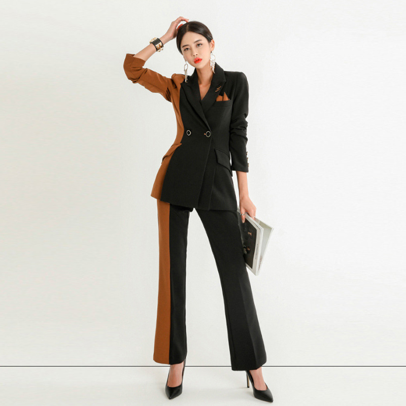 2019 High Quality Professional Women's Suit Office Elegant Pants Set Casual Slim Color Matching Ladies Coat Versatile Trousers