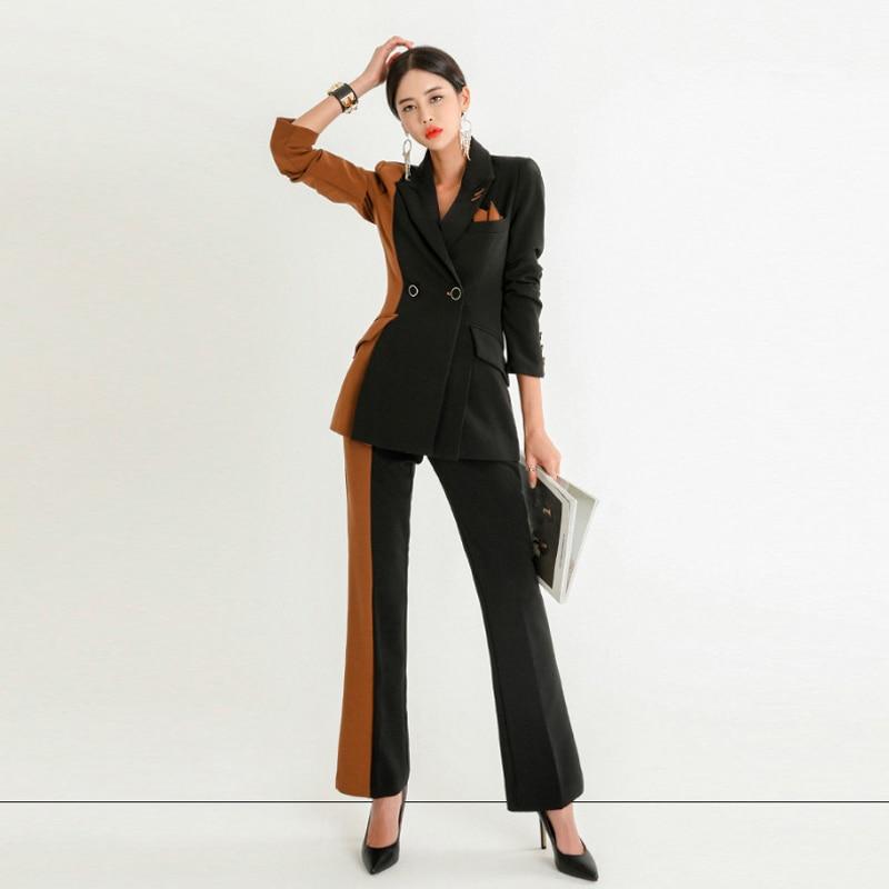 2019 High Quality Professional Women's Suit Office Elegant Pants Set Casual Slim Color Matching Ladies Coat Versatile Trousers