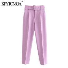 KPYTOMOA, moda Chic 2020 para Mujer, cintura alta con cinturón, pantalones Vintage con cremallera, bolsillos, ropa de oficina, pantalones tobilleros para Mujer