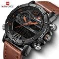 Мужские s часы люксовый бренд мужские кожаные спортивные наручные часы naviforce 9134 Мужские кварцевые светодиодный цифровые водонепроницаемые ...