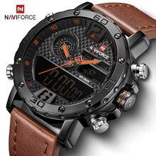 Mens Watches Luxury Brand Men Leather Sports Watches NAVIFORCE 9134 Men's Quartz LED Digital Waterproof Military Wrist Watch цены